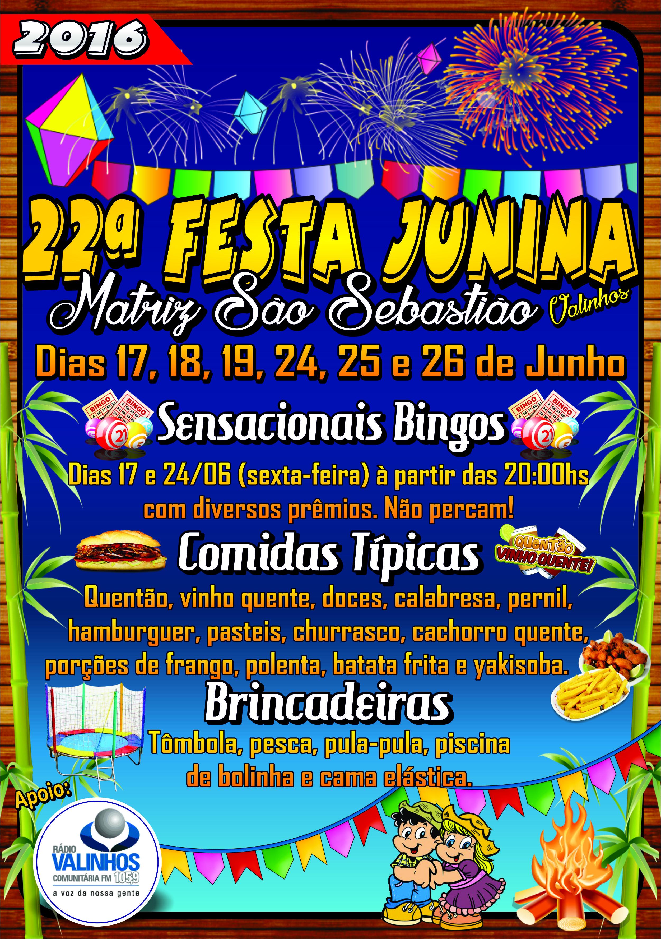 Cartaz Festa Junina - São Sebastião - Heleno 2016